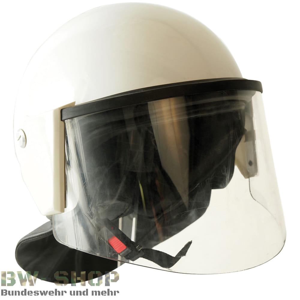 Original Polizei Einsatzhelm weiß mit Visier & Nackenschutz