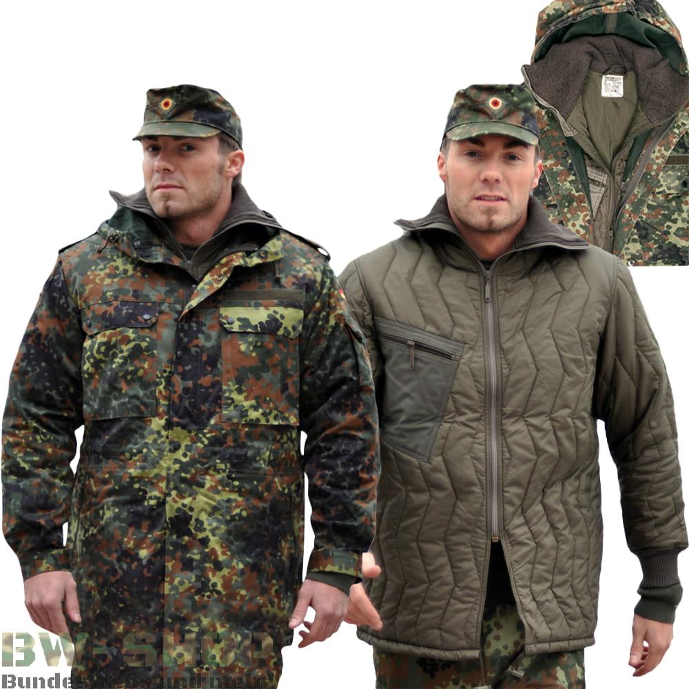 Original Bundeswehr Set Parka + Unterziehjacke Neu Flecktarn Bw Kälteschutz