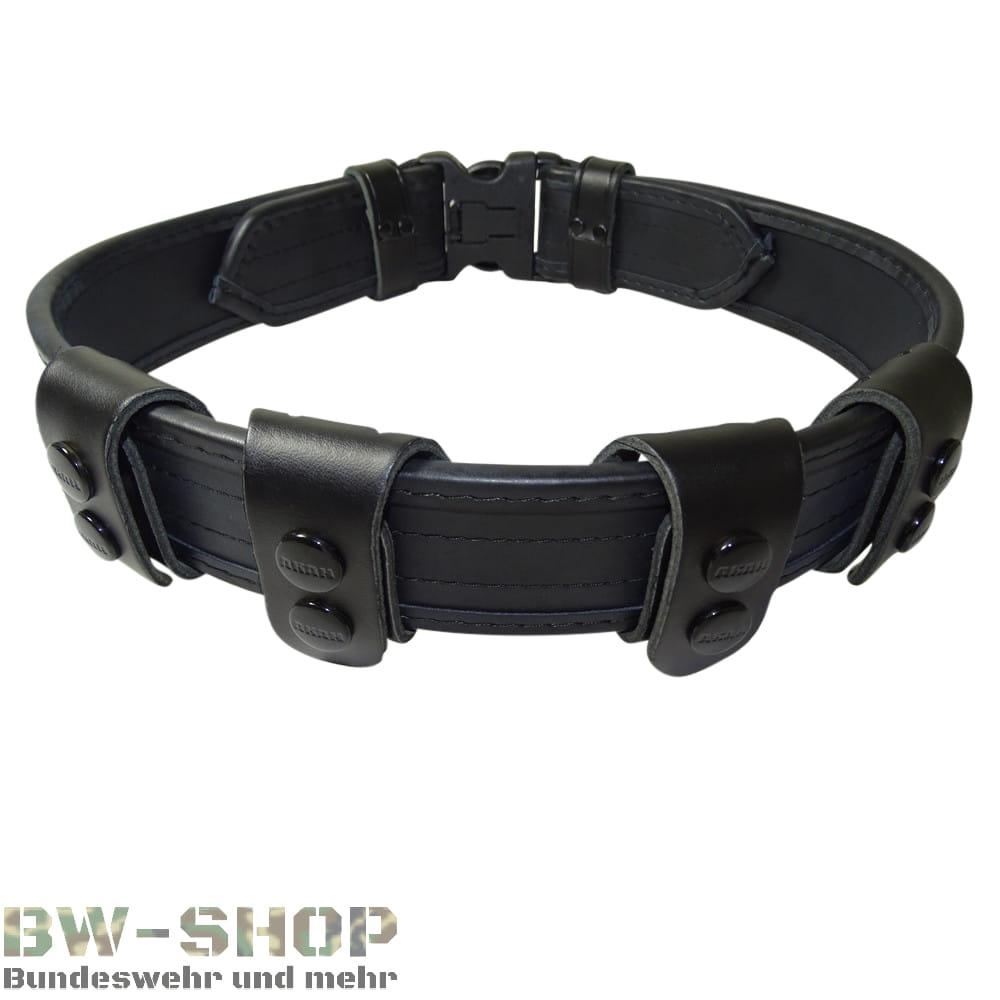 Original Polizei Einsatzgürtel Leder schwarz Security Ledergürtel