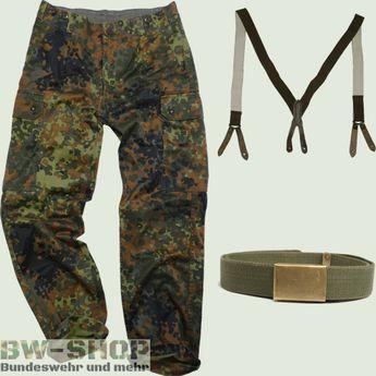 Original Bundeswehr Set Hose Flecktarn mit Gürtel oder Hosenträger Bw Feldhose