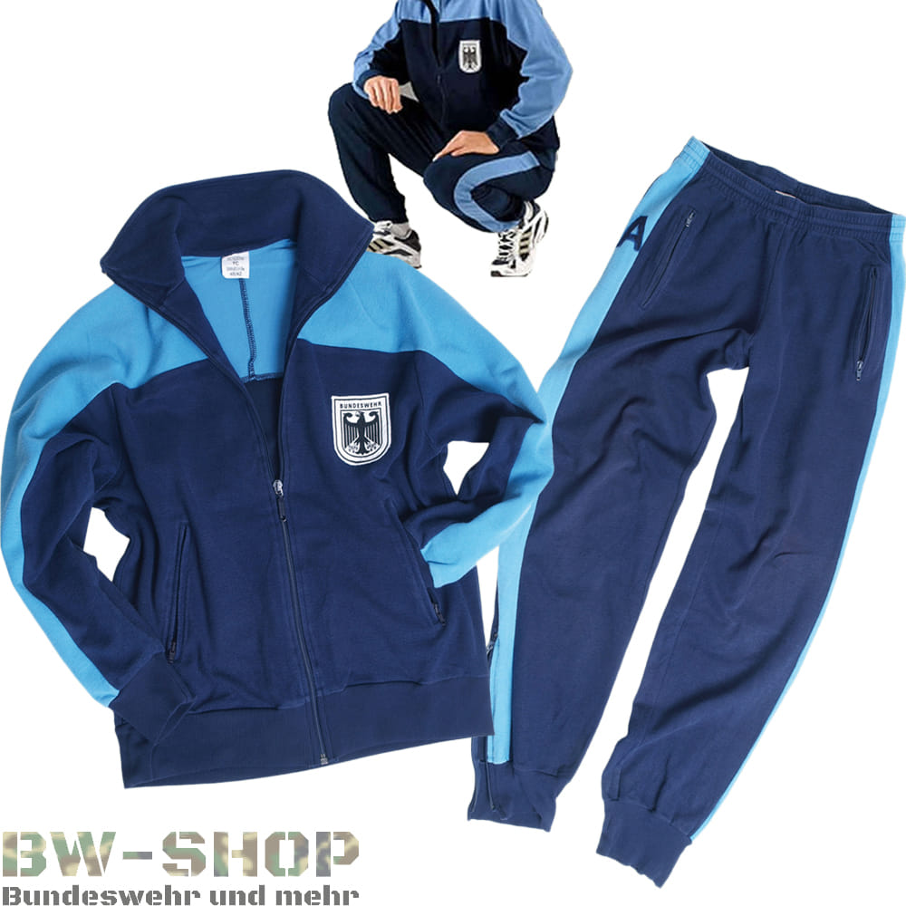Original Bundeswehr Trainingsjacke / Trainingshose / Trainingsanzug blau Bw Sportzeug