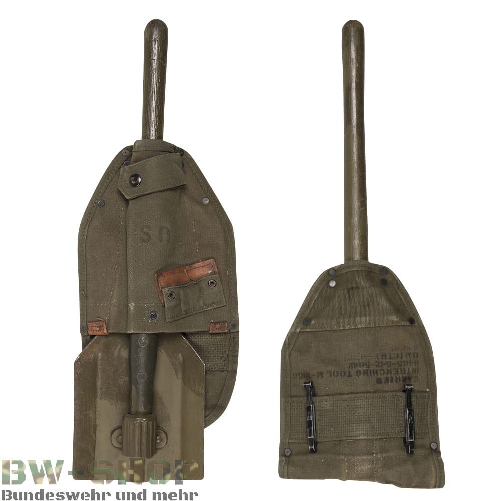 Original US Army Klappspaten M56 mit Tasche 2. Weltkrieg