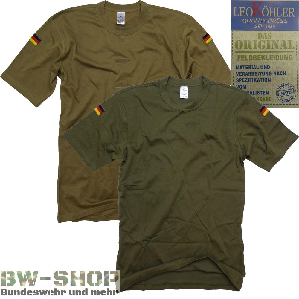 Original Bundeswehr T-Shirt Tropen Leo Köhler Bw Unterhemd mit Flaggen Shirt