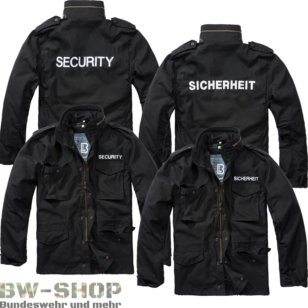 Brandit M65 Jacke schwarz mit Aufschrift Security o. Sicherheit